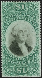 Sale Number 1197, Lot Number 2189, Revenues: Second Issue thru Proprietary, Balances$1.00 Green & Black on Violet Paper, Proprietary (RB9a), $1.00 Green & Black on Violet Paper, Proprietary (RB9a)