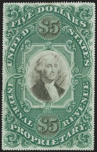 Sale Number 1197, Lot Number 2190, Revenues: Second Issue thru Proprietary, Balances$5.00 Green & Black on Violet Paper, Proprietary (RB10a), $5.00 Green & Black on Violet Paper, Proprietary (RB10a)