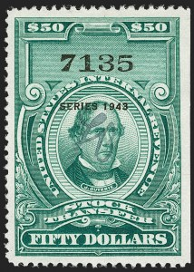 "Sale Number 1197, Lot Number 2192, Revenues: Second Issue thru Proprietary, Balances$50.00 Bright Green, ""Series 1943"" Ovpt., Stock Transfer (RD158), $50.00 Bright Green, ""Series 1943"" Ovpt., Stock Transfer (RD158)"