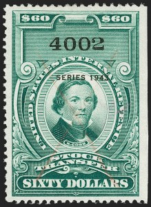 "Sale Number 1197, Lot Number 2193, Revenues: Second Issue thru Proprietary, Balances$60.00 Bright Green, ""Series 1943"" Ovpt., Stock Transfer (RD159), $60.00 Bright Green, ""Series 1943"" Ovpt., Stock Transfer (RD159)"