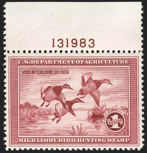 Sale Number 1197, Lot Number 2242, Hunting Permits$1.00 1935 Hunting Permit (RW2), $1.00 1935 Hunting Permit (RW2)