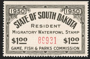 Sale Number 1197, Lot Number 2248, Hunting Permits$1.00 Black on Light Brown, Horizontal Safety Paper, 1949 South Dakota Resident Water Fowl (SD2a), $1.00 Black on Light Brown, Horizontal Safety Paper, 1949 South Dakota Resident Water Fowl (SD2a)