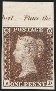Sale Number 1198, Lot Number 3006, Line Engraved IssuesGREAT BRITAIN, 1849, 1p Red Brown, Imprimatur (SG Specialised BS31 var; SG 8 var; Scott 3 var), GREAT BRITAIN, 1849, 1p Red Brown, Imprimatur (SG Specialised BS31 var; SG 8 var; Scott 3 var)