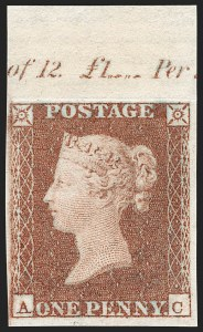 Sale Number 1198, Lot Number 3007, Line Engraved IssuesGREAT BRITAIN, 1850, 1p Red Brown, Imprimatur (SG Specialised BS32 var; SG 8 var; Scott 3 var), GREAT BRITAIN, 1850, 1p Red Brown, Imprimatur (SG Specialised BS32 var; SG 8 var; Scott 3 var)