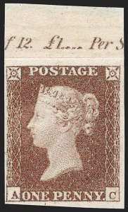 Sale Number 1198, Lot Number 3008, Line Engraved IssuesGREAT BRITAIN, 1850, 1p Red Brown, Imprimatur (SG Specialised BS32 var; SG 8 var; Scott 3 var), GREAT BRITAIN, 1850, 1p Red Brown, Imprimatur (SG Specialised BS32 var; SG 8 var; Scott 3 var)