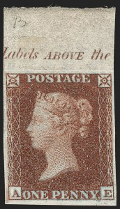 Sale Number 1198, Lot Number 3009, Line Engraved IssuesGREAT BRITAIN, 1852, 1p Red Brown, Imprimatur (SG Specialised B2 var; SG 8 var; Scott 3 var), GREAT BRITAIN, 1852, 1p Red Brown, Imprimatur (SG Specialised B2 var; SG 8 var; Scott 3 var)