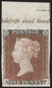 Sale Number 1198, Lot Number 3010, Line Engraved IssuesGREAT BRITAIN, 1852, 1p Red Brown, Imprimatur (SG Specialised B2 var; SG 8 var; Scott 3 var), GREAT BRITAIN, 1852, 1p Red Brown, Imprimatur (SG Specialised B2 var; SG 8 var; Scott 3 var)