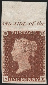 Sale Number 1198, Lot Number 3011, Line Engraved IssuesGREAT BRITAIN, 1852, 1p Red Brown, Imprimatur (SG Specialised B2 var; SG 8 var; Scott 3 var), GREAT BRITAIN, 1852, 1p Red Brown, Imprimatur (SG Specialised B2 var; SG 8 var; Scott 3 var)