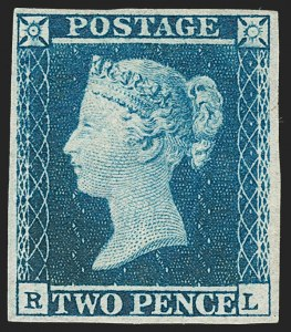 Sale Number 1198, Lot Number 3015, Line Engraved IssuesGREAT BRITAIN, 1841, 2p Blue (SG Specialised ES14; SG 14; Scott 4), GREAT BRITAIN, 1841, 2p Blue (SG Specialised ES14; SG 14; Scott 4)