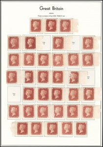 Sale Number 1198, Lot Number 3017, Line Engraved IssuesGREAT BRITAIN, 1864, 1p Rose Red and Lake Red, Imprimaturs (SG Specialised G1 Imprimatur; SG 43P-44P; Scott 33P), GREAT BRITAIN, 1864, 1p Rose Red and Lake Red, Imprimaturs (SG Specialised G1 Imprimatur; SG 43P-44P; Scott 33P)