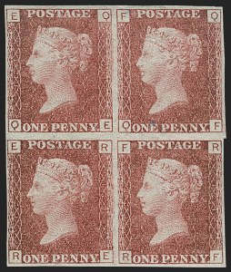 Sale Number 1198, Lot Number 3019, Line Engraved IssuesGREAT BRITAIN, 1864, 1p Lake Red, Imperforate on Dr. Perkins Blued Paper (SG Specialised G1(2)i; SG 44a; Scott 33c var), GREAT BRITAIN, 1864, 1p Lake Red, Imperforate on Dr. Perkins Blued Paper (SG Specialised G1(2)i; SG 44a; Scott 33c var)