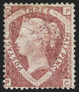 Sale Number 1198, Lot Number 3024, Line Engraved IssuesGREAT BRITAIN, 1870, 1-1/2p Rose Red, Error of Lettering OP-PC for CP-PC (SG Specialised G6(1)c; SG 53; Scott 32d), GREAT BRITAIN, 1870, 1-1/2p Rose Red, Error of Lettering OP-PC for CP-PC (SG Specialised G6(1)c; SG 53; Scott 32d)
