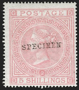 "Sale Number 1198, Lot Number 3061, De La Rue High ValuesGREAT BRITAIN, 1882, 5sh Pale Rose, ""Specimen"" Overprint (SG Specialised J122s; SG 127s; Scott 57aS var), GREAT BRITAIN, 1882, 5sh Pale Rose, ""Specimen"" Overprint (SG Specialised J122s; SG 127s; Scott 57aS var)"