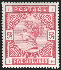 Sale Number 1198, Lot Number 3083, Surface Printed Issues, 1881 OnwardsGREAT BRITAIN, 1884, 5sh Rose (SG Specialised K12(1); SG 180; Scott 108), GREAT BRITAIN, 1884, 5sh Rose (SG Specialised K12(1); SG 180; Scott 108)