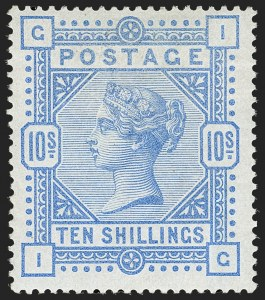 Sale Number 1198, Lot Number 3085, Surface Printed Issues, 1881 OnwardsGREAT BRITAIN, 1884, 10sh Ultramarine on Blued Paper (SG Specialised K13(1); SG 177; Scott 109b), GREAT BRITAIN, 1884, 10sh Ultramarine on Blued Paper (SG Specialised K13(1); SG 177; Scott 109b)