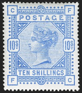 Sale Number 1198, Lot Number 3087, Surface Printed Issues, 1881 OnwardsGREAT BRITAIN, 1884, 10sh Ultramarine (SG Specialised K14(2); SG 183; Scott 109), GREAT BRITAIN, 1884, 10sh Ultramarine (SG Specialised K14(2); SG 183; Scott 109)