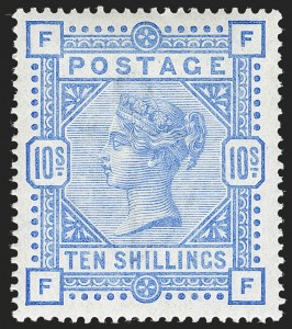 Sale Number 1198, Lot Number 3088, Surface Printed Issues, 1881 OnwardsGREAT BRITAIN, 1887, 10sh Pale Ultramarine (SG Specialised K14(3); SG 183a; Scott 109 var), GREAT BRITAIN, 1887, 10sh Pale Ultramarine (SG Specialised K14(3); SG 183a; Scott 109 var)