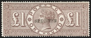 "Sale Number 1198, Lot Number 3089, Surface Printed Issues, 1881 OnwardsGREAT BRITAIN, 1884, £1 Brown Violet, Watermarked Crowns, ""Specimen"" Overprint (SG Specialised K15t; SG 185s; Scott 110S), GREAT BRITAIN, 1884, £1 Brown Violet, Watermarked Crowns, ""Specimen"" Overprint (SG Specialised K15t; SG 185s; Scott 110S)"