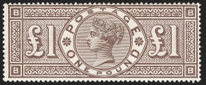 Sale Number 1198, Lot Number 3090, Surface Printed Issues, 1881 OnwardsGREAT BRITAIN, 1884, £1 Brown Lilac, Watermark Crowns (SG Specialised K15; SG 185; Scott 110), GREAT BRITAIN, 1884, £1 Brown Lilac, Watermark Crowns (SG Specialised K15; SG 185; Scott 110)