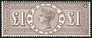 Sale Number 1198, Lot Number 3091, Surface Printed Issues, 1881 OnwardsGREAT BRITAIN, 1888, £1 Brown Lilac, Watermark Orbs (SG Specialised K16; SG 186; Scott 123), GREAT BRITAIN, 1888, £1 Brown Lilac, Watermark Orbs (SG Specialised K16; SG 186; Scott 123)