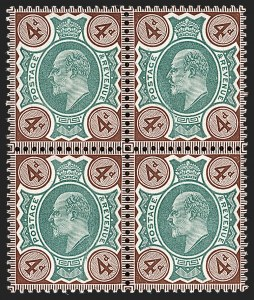 Sale Number 1198, Lot Number 3098, King Edward VII and Later IssuesGREAT BRITAIN, 1906, 4p Deep Green & Chocolate Brown, Chalk Surfaced Paper (SG Specialised M24(2); SG 238; Scott 133bc), GREAT BRITAIN, 1906, 4p Deep Green & Chocolate Brown, Chalk Surfaced Paper (SG Specialised M24(2); SG 238; Scott 133bc)