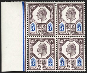 "Sale Number 1198, Lot Number 3099, King Edward VII and Later IssuesGREAT BRITAIN, 1906, 5p Slate Purple & Ultramarine, Chalk Surfaced Paper, Flaws on ""PO"" and ""A"" (SG Specialised M29(2)i; SG 243a var; Scott 134cd var), GREAT BRITAIN, 1906, 5p Slate Purple & Ultramarine, Chalk Surfaced Paper, Flaws on ""PO"" and ""A"" (SG Specialised M29(2)i; SG 243a var; Scott 134cd var)"