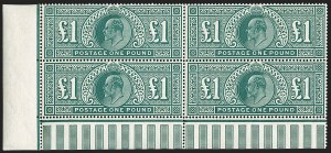 Sale Number 1198, Lot Number 3100, King Edward VII and Later IssuesGREAT BRITAIN, 1911, £1 Deep Green, Somerset Printing (SG Specialised M56; SG 320; Scott 142b), GREAT BRITAIN, 1911, £1 Deep Green, Somerset Printing (SG Specialised M56; SG 320; Scott 142b)