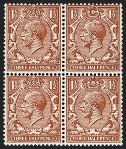 Sale Number 1198, Lot Number 3102, King Edward VII and Later IssuesGREAT BRITAIN, 1924, 1-1/2p Chestnut, Experimental Paper (SG Specialised N35(4)b; SG 420g; Scott 189 var), GREAT BRITAIN, 1924, 1-1/2p Chestnut, Experimental Paper (SG Specialised N35(4)b; SG 420g; Scott 189 var)