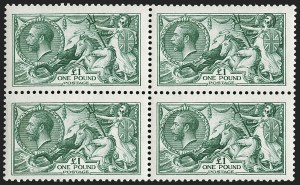 Sale Number 1198, Lot Number 3106, King Edward VII and Later IssuesGREAT BRITAIN, 1913, £1 Green Waterlow Seahorse (SG Specialised N72(1); SG 403; Scott 176), GREAT BRITAIN, 1913, £1 Green Waterlow Seahorse (SG Specialised N72(1); SG 403; Scott 176)