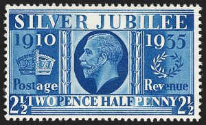 Sale Number 1198, Lot Number 3108, King Edward VII and Later IssuesGREAT BRITAIN, 1935, 2-1/2p Prussian Blue, Error of Color, Silver Jubilee (SG Specialised NCom 14; SG 456a; Scott 229a), GREAT BRITAIN, 1935, 2-1/2p Prussian Blue, Error of Color, Silver Jubilee (SG Specialised NCom 14; SG 456a; Scott 229a)