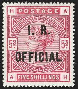 "Sale Number 1198, Lot Number 3112, Officials - Inland RevenueGREAT BRITAIN, 1890, 5sh Rose, I.R. Official, Raised Stop After ""R"" (SG Specialised L7(2)a; SG O9a; Scott O8b), GREAT BRITAIN, 1890, 5sh Rose, I.R. Official, Raised Stop After ""R"" (SG Specialised L7(2)a; SG O9a; Scott O8b)"