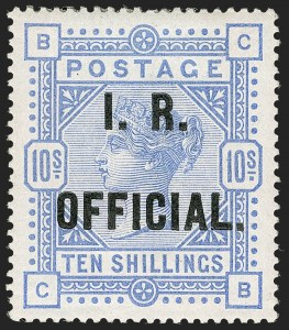Sale Number 1198, Lot Number 3113, Officials - Inland RevenueGREAT BRITAIN, 1885, 10sh Cobalt, I.R. Official (SG Specialised L8(3); SG O9cb; Scott O9a), GREAT BRITAIN, 1885, 10sh Cobalt, I.R. Official (SG Specialised L8(3); SG O9cb; Scott O9a)