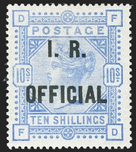 Sale Number 1198, Lot Number 3114, Officials - Inland RevenueGREAT BRITAIN, 1890, 10sh Ultramarine on White Paper, I.R. Official (SG Specialised L8(4); SG O10; Scott O9), GREAT BRITAIN, 1890, 10sh Ultramarine on White Paper, I.R. Official (SG Specialised L8(4); SG O10; Scott O9)