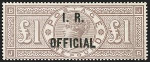 Sale Number 1198, Lot Number 3115, Officials - Inland RevenueGREAT BRITAIN, 1885, £1 Brown Lilac, Watermark Crowns, I.R. Official (SG Specialised L9; SG O11; Scott O10), GREAT BRITAIN, 1885, £1 Brown Lilac, Watermark Crowns, I.R. Official (SG Specialised L9; SG O11; Scott O10)