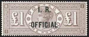 Sale Number 1198, Lot Number 3116, Officials - Inland RevenueGREAT BRITAIN, 1890, £1 Brown Lilac, Watermark Orbs, I.R. Official (SG Specialised L10; SG O12; Scott O13), GREAT BRITAIN, 1890, £1 Brown Lilac, Watermark Orbs, I.R. Official (SG Specialised L10; SG O12; Scott O13)