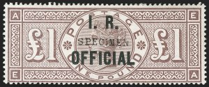"Sale Number 1198, Lot Number 3117, Officials - Inland RevenueGREAT BRITAIN, 1890, £1 Brown Lilac, Watermark Three Orbs, I.R. Official, ""Specimen"" Overprint (SG Specialised L10s; SG O12s; Scott O13S), GREAT BRITAIN, 1890, £1 Brown Lilac, Watermark Three Orbs, I.R. Official, ""Specimen"" Overprint (SG Specialised L10s; SG O12s; Scott O13S)"