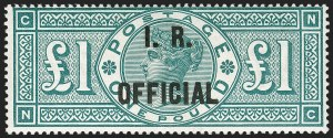 Sale Number 1198, Lot Number 3118, Officials - Inland RevenueGREAT BRITAIN, 1892, £1 Green, I.R. Official (SG Specialised L11; SG O16; Scott O15), GREAT BRITAIN, 1892, £1 Green, I.R. Official (SG Specialised L11; SG O16; Scott O15)