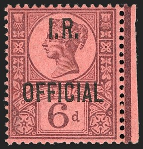 Sale Number 1198, Lot Number 3119, Officials - Inland RevenueGREAT BRITAIN, 1901, 6p Purple on Rose Red, I.R. Official (SG Specialised L15; SG O18; Scott O17), GREAT BRITAIN, 1901, 6p Purple on Rose Red, I.R. Official (SG Specialised L15; SG O18; Scott O17)
