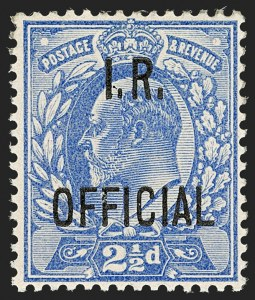Sale Number 1198, Lot Number 3121, Officials - Inland RevenueGREAT BRITAIN, 1902, 2-1/2p Ultramarine, I.R. Official (SG Specialised MO3; SG O22; Scott O21), GREAT BRITAIN, 1902, 2-1/2p Ultramarine, I.R. Official (SG Specialised MO3; SG O22; Scott O21)