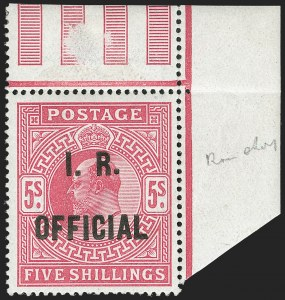 "Sale Number 1198, Lot Number 3123, Officials - Inland RevenueGREAT BRITAIN, 1902, 5sh Bright Carmine, I.R. Official, Raised Stop After ""R"" (SG Specialised MO6a; SG O25a; Scott O24a), GREAT BRITAIN, 1902, 5sh Bright Carmine, I.R. Official, Raised Stop After ""R"" (SG Specialised MO6a; SG O25a; Scott O24a)"