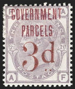 "Sale Number 1198, Lot Number 3124, Officials - Government ParcelsGREAT BRITAIN, 1883, 3p on 3p Lilac, Ty. B ""Government Parcels"" in Red Trial Overprint, GREAT BRITAIN, 1883, 3p on 3p Lilac, Ty. B ""Government Parcels"" in Red Trial Overprint"