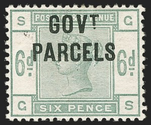 Sale Number 1198, Lot Number 3126, Officials - Government ParcelsGREAT BRITAIN, 1886, 6p Dull Green, Govt. Parcels Official (SG Specialised L19; SG O62; Scott O28), GREAT BRITAIN, 1886, 6p Dull Green, Govt. Parcels Official (SG Specialised L19; SG O62; Scott O28)