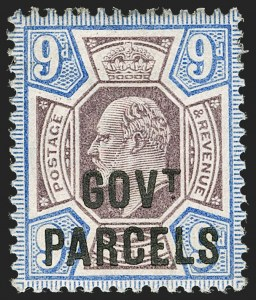 Sale Number 1198, Lot Number 3131, Officials - Government ParcelsGREAT BRITAIN, 1902, 9p Dull Purple & Ultramarine, Govt. Parcels (SG Specialised MO12; SG O77; Scott O42), GREAT BRITAIN, 1902, 9p Dull Purple & Ultramarine, Govt. Parcels (SG Specialised MO12; SG O77; Scott O42)