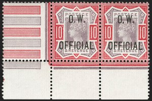Sale Number 1198, Lot Number 3133, Officials - Office of Works and ArmyGREAT BRITAIN, 1902, 10p Dull Purple & Carmine, O.W. Official (SG Specialised L35; SG O35; Scott O48), GREAT BRITAIN, 1902, 10p Dull Purple & Carmine, O.W. Official (SG Specialised L35; SG O35; Scott O48)