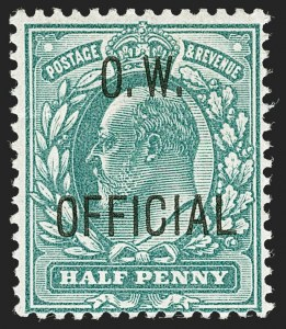 Sale Number 1198, Lot Number 3134, Officials - Office of Works and ArmyGREAT BRITAIN, 1902, -1/2p Blue Green, O.W. Official (SG Specialised MO14; SG O36; Scott O49), GREAT BRITAIN, 1902, -1/2p Blue Green, O.W. Official (SG Specialised MO14; SG O36; Scott O49)