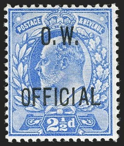 Sale Number 1198, Lot Number 3135, Officials - Office of Works and ArmyGREAT BRITAIN, 1902, 2-1/2p Ultramarine, O.W. Official (SG Specialised MO17; SG O39; Scott O52), GREAT BRITAIN, 1902, 2-1/2p Ultramarine, O.W. Official (SG Specialised MO17; SG O39; Scott O52)