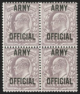 Sale Number 1198, Lot Number 3137, Officials - Office of Works and ArmyGREAT BRITAIN, 1903, 6p Pale Dull Purple, Army Official (SG Specialised MO22; SG O52; Scott O62), GREAT BRITAIN, 1903, 6p Pale Dull Purple, Army Official (SG Specialised MO22; SG O52; Scott O62)
