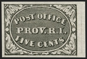 Sale Number 1199, Lot Number 1001, Postmasters' ProvisionalsProvidence, Rhode Island, 5c Gray Black (10X1), Providence, Rhode Island, 5c Gray Black (10X1)