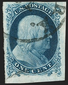 Sale Number 1199, Lot Number 1016, 1c 1851-56 Issue (Scott 5-9)1c Blue, Ty. Ia (6), 1c Blue, Ty. Ia (6)