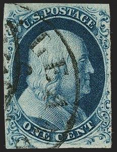 Sale Number 1199, Lot Number 1017, 1c 1851-56 Issue (Scott 5-9)1c Blue, Ty. Ic (6b), 1c Blue, Ty. Ic (6b)